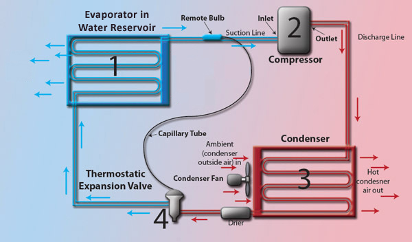 Evaporator In Liquid Reservoir